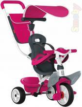 SMOBY Tříkolka Baby Balade 2 s vodící tyčí a stříškou růžová 3v1 šlapadlo s košíkem