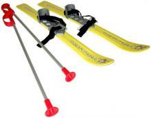 SEDCO Baby lyže dětské kluzky 70cm s holemi a vázáním žluté