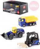 SIKU Stavební stroje modro-žluté funkční set 3ks model kov v krabici 6305