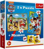 TREFL Puzzle 2v1 28x21cm Pexeso Tlapková Patrola (Paw Patrol) 24 kartiček