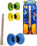 Hra Diabolo 9cm herní play set malý žonglér na kartě 4 barvy plast dřevo