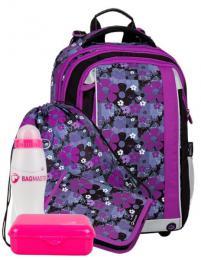 Dívčí školní batoh pro prvňáčky motiv kytky BAGMASTER Velký SET MERCURY 8 A - zvětšit obrázek
