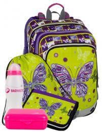 Dívčí školní batoh pro prvňáčky v setu BAGMASTER Velký SET ALFA 8 A - zvětšit obrázek