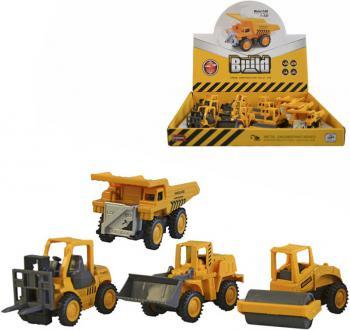 Auto žluté kovové stavební 7,5cm zpětný chod 4 druhy - zvětšit obrázek