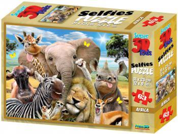 PUZZLE 3D Skládačka Afrika zvířátka selfie 31x23cm set 63 dílků - zvětšit obrázek