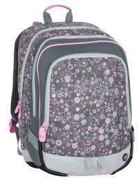 Dívčí tříkomorový školní batoh pro prvňáčky Bagmaster ALFA 7 B GREY/PINK - zvětšit obrázek