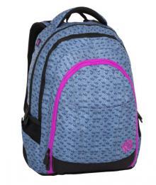 Dívčí studentský batoh se skrytou kapsou na zádech BAGMASTER DIGITAL 8 A BLUE/PINK/BLACK - zvětšit obrázek