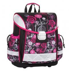 Dívčí jednokomorová aktovka motiv květiny BAGMASTER LIM 8 A BLACK/PINK/WHITE - zvětšit obrázek