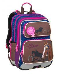 Dívčí školní batoh pro prvňáčky BAGMASTER GALAXY 9 B BLUE/BROWN/PINK - zvětšit obrázek