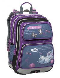 Dívčí školní batoh pro prvňáčky BAGMASTER GALAXY 9 A GRAY/VIOLET - zvětšit obrázek