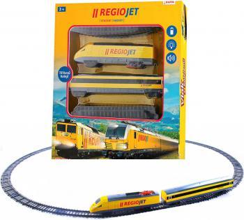 Vlak žlutý RegioJet Student Agency set dráha s lokomotivou a vagonem Světlo Zvuk - zvětšit obrázek