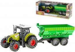 Traktor s vlečkou 32cm na setrvačník na baterie Světlo Zvuk plast - zvětšit obrázek