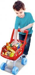 Nákupní vozík dětský 36x41x20cm plastový set s maketami potravin - zvětšit obrázek
