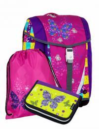 Jednokomorová školní aktovka, batoh Bagmaster Malý SET POLO 7 A s motýlky - zvětšit obrázek
