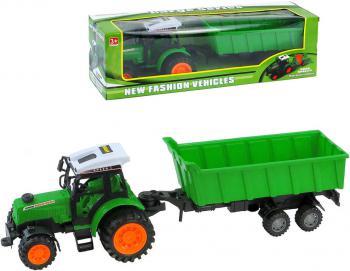 Traktor zelený 23cm set s přívěsem v krabici plast - zvětšit obrázek