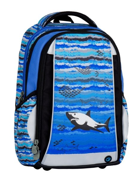 Klučičí školní batoh pro prvňáčky se žralokem Bagmaster MERCURY 7 B  BLUE BLACK GREY - papirnictvikbely.cz 9653e68554